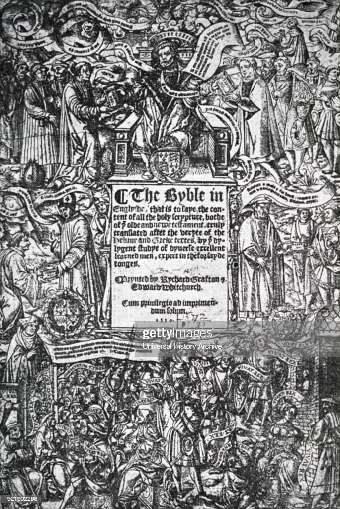 Engraved titled page from 'The Great Bible'. Dated 16th century.