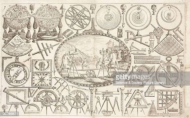 Engraved trade card of Thomas Tuttell of Charing Cross London mathematical instrument maker to the king Illustrated are scientific instruments...