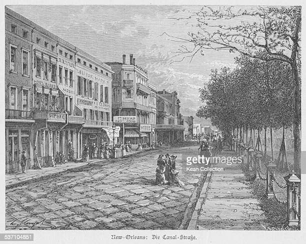 Engraved view along Canal Street New Orleans Louisiana circa 1800