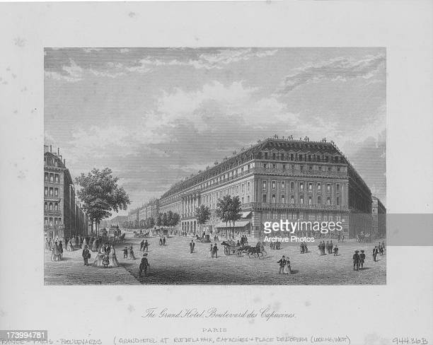 Engraved view along the Boulevard des Capucines one of the four grand boulevard's in Paris with the imposing Grand Hotel Paris France circa 18001900