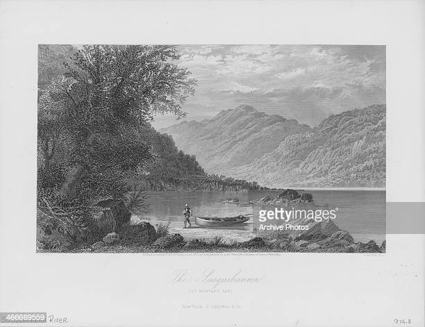 Engraved view along the Susquehanna River at Hunter's Gap engraved by R Hinshelwood Pennsylvania PA 1873