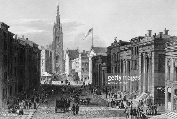 Engraved view along Wall Street New York City circa 1880