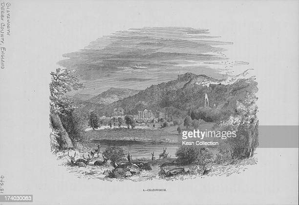 Engraved view of Chatsworth House, a stately home on the banks of the River Derwent, and the surrounding Derbyshire countryside, circa 1840-1880.