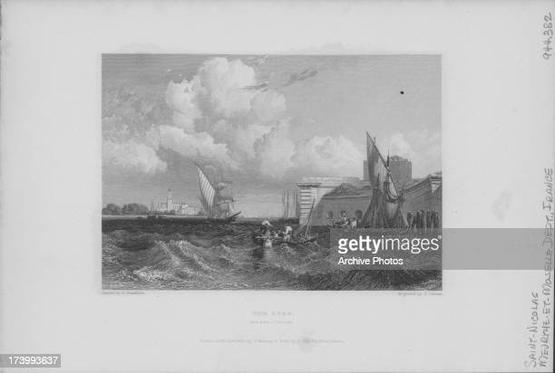Engraved view of fishing boats at the Lido and Port St Nicolas engraved by J Cousen France 1832