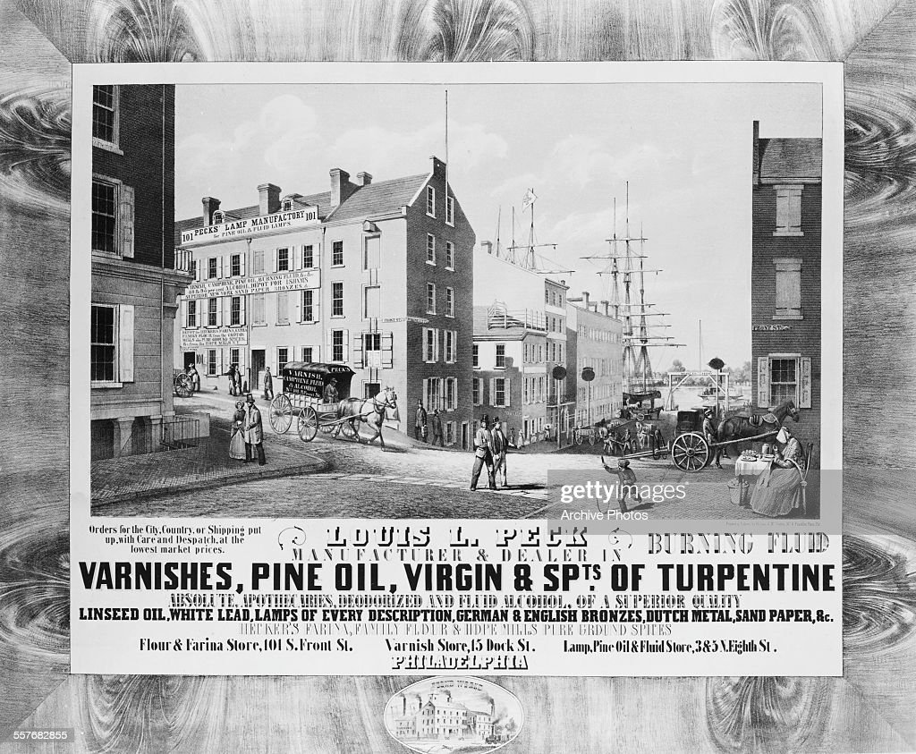 Engraved View Of Pecku0027s Lamp Factory, Sellers Of Varnishes, Pine Oil And  Turpentine,
