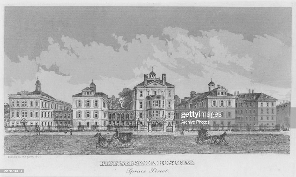 Engraved view of Pennsylvania Hospital, Spruce Street, PA, circa
