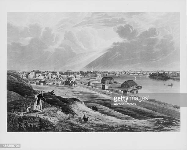 Engraved view of Philadelphia looking across the Schuylkill River from Fairmount from the painting by J W Hill Pennsylvania circa 18301880