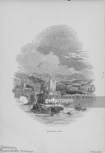 Engraved view of Rochester Castle from across the Medway River Kent England circa 17501850