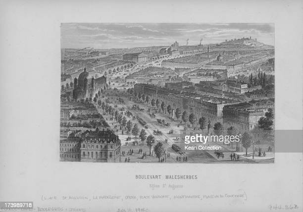 Engraved view of the Boulevard Malesherbes which begins at the Place de la Madeleine and ends at Boulevard Berthier Paris circa 18001850