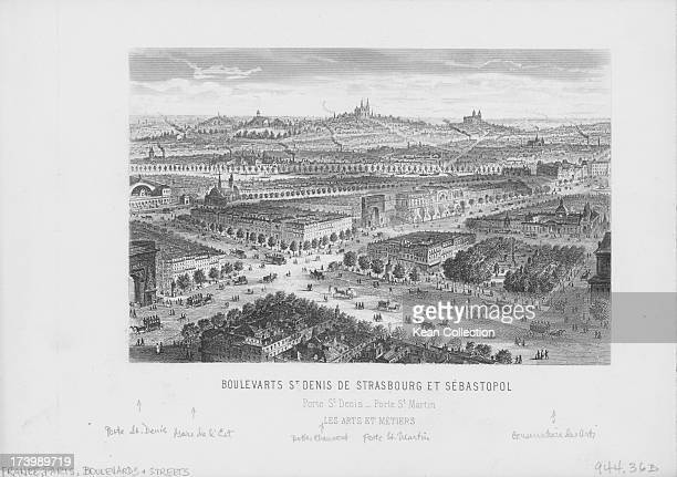 Engraved view of the boulevards of Paris at the crossing of Rue St Denis and Sebastopol with the Porte St Denis circa 18001830
