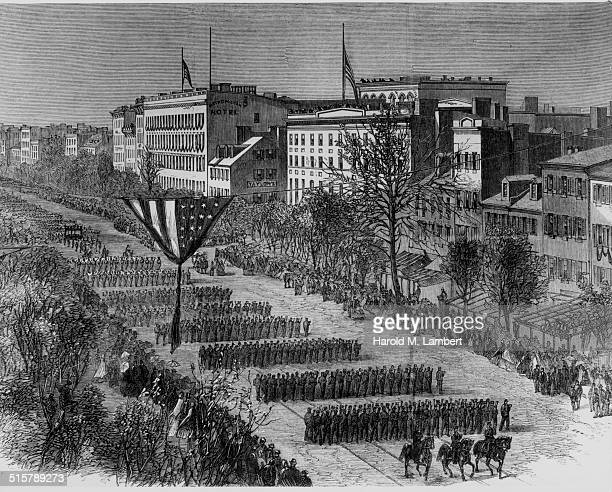 Engraved view of the funeral of President Abraham Lincoln with soldiers marching the streets of Springfield Illinois May 3rd 1865