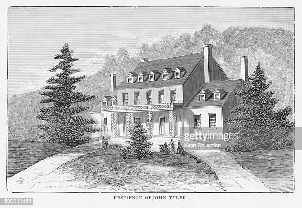 Engraved view of the home of John Tyler 10th US President Sherwood Forest Plantation Charles City County Virginia circa 1845