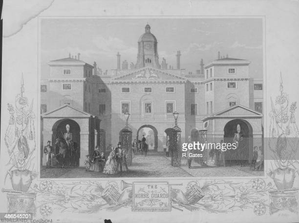 Engraved view of the Horse Guards Building as viewed from Whitehall with mounted troopers of the Household Cavalry on guard London England circa...