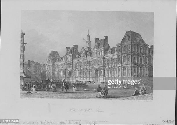 Engraved view of the Hotel de Ville the ornate building housing the city's local administration engraved by J Saddler Paris France circa 18001900