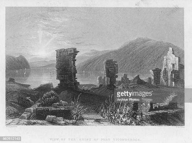 Engraved view of the ruins of Fort Ticonderoga New York circa 1800 Engraved by T A Prior from the original by W H Bartlett