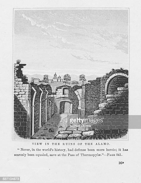 Engraved view of the ruins of the Alamo following the Battle of the Alamo during the Texas Revolution San Antonio Texas circa 1836