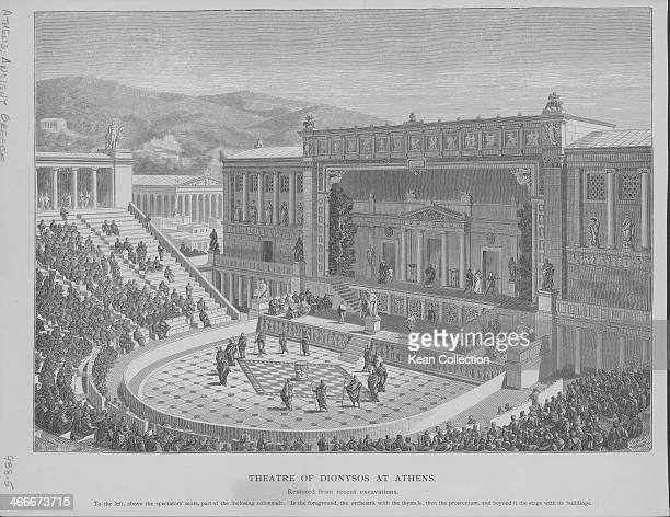 Engraved view of the Theatre of Dionysus Eleuthereus Athens Ancient Greece circa 600 BC