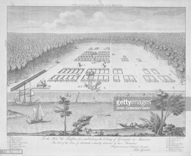 Engraved view of the Town of Savannah the oldest city in the US state of Georgia Peter Gordon 1734 From the New York Public Library