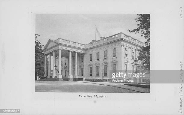 Engraved view of the White House from the North Lawn the official residence of the President of the United States Washington D C circa 18001850