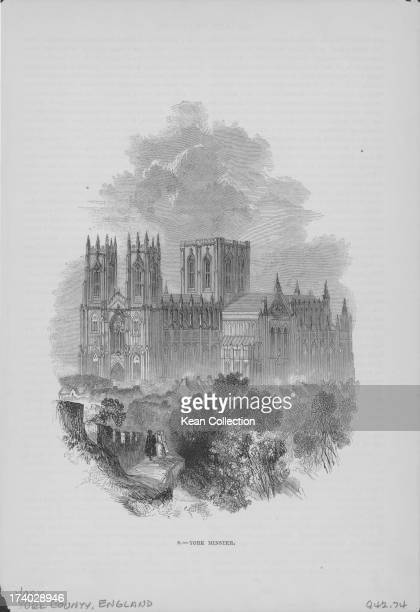 Engraved view of York Minster the second largest Gothic cathedral of Northern Europe and the seat of the Archbishop of York Yorkshire UK 1831