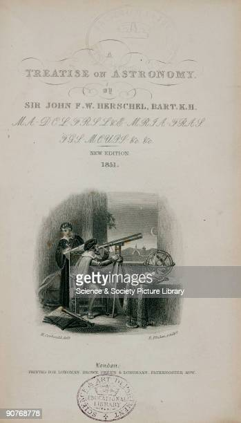 Engraved vignette showing a Renaissance astronomer possibly Galileo observing the Moon through a telescope Title page to Sir John Herschel�s work �A...