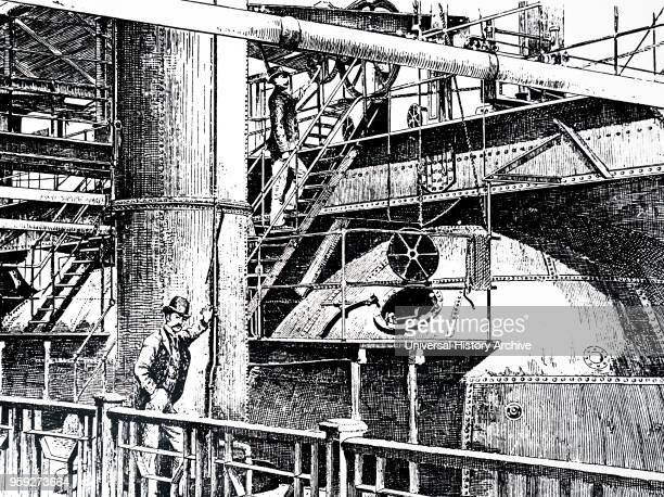 Engraving a scene from within the WM Younger Co Holyrood Brewery the mashing stage where malt and water were thoroughly mixed together Dated 19th...