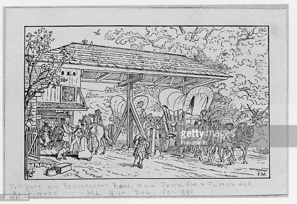 Engraving after a drawing by Francis Blackwell Mayer 'A Toll Gate on the BaltimoreReister town Road' depicting people and wagons at the toll gate...