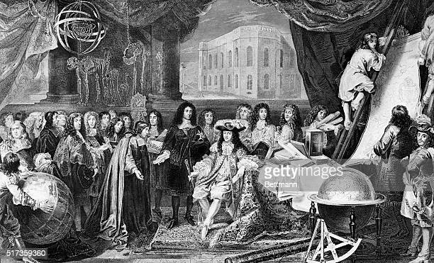 Engraving after a painting by Lebrun, of King Louis XIV, , founding the observatory in 1667. Jean-Baptiste Colbert, Louis XIV's advisor, presents to...