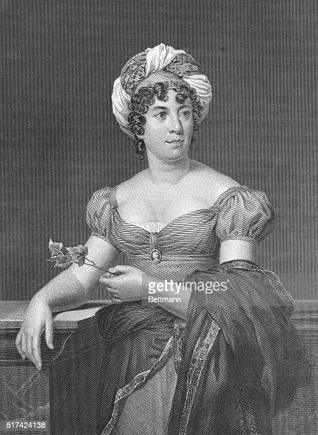 Engraving after Portrait of Madame de Stael by AnneLouis Girodet de RoucyTrioson | Based on 'Portrait of Madame de Stael' by Francois Gerard