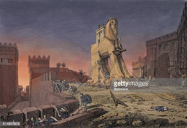 Engraving After The Trojan Horse by Henri Paul Motte
