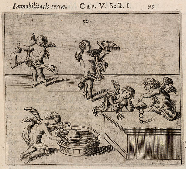Cherubs conducting experiments to prove the immobility of the Earth