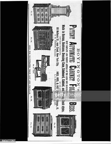 Engraving 'Boyington's Patent Automatic Cabinet Folding Beds'