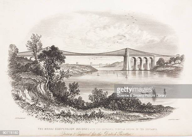 Engraving by A Ashley after an original drawn by J F Burrel drawn and engraved for the British Gazette The Menai Straits road bridge was designed by...