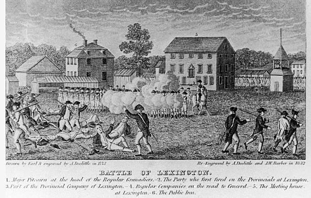 Engraving by Amos Doolittle depicting 'Battle of Lexington',...