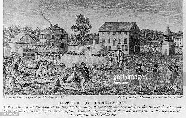 Engraving by Amos Doolittle depicting 'Battle of Lexington', after initial skirmishes between British soldiers and American colonists that marked the...