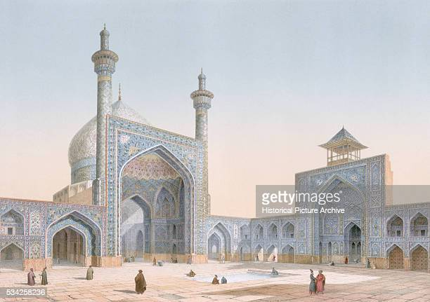 Engraving by Bachelier of the Mosque of Mesdjid-I-Chah courtyard in Isfahan, taken from Modern Monuments of Persia.