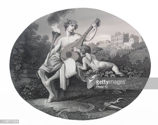 Engraving by British artist engraver William Hogarth 16971764 Hymen and Cupid Steel engraving by E Chavane after W Hogarth