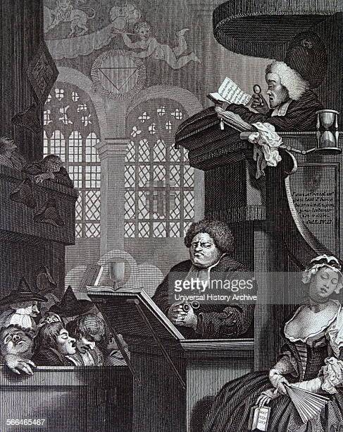 Engraving by british artist engraver William Hogarth 1697–1764 The Sleeping Congregation 1736 The congregation snores through the drone of the sermon...
