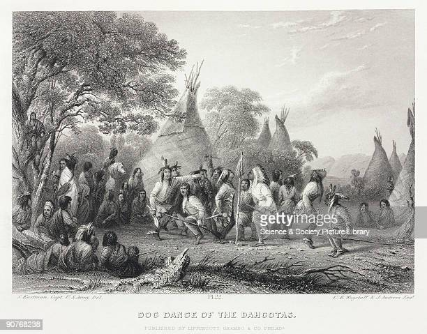 Engraving by C E Wagstaff and J Andrews after Captain Seth Eastman US Army showing a group of Sioux or Dakota Native Americans performing a ritual...