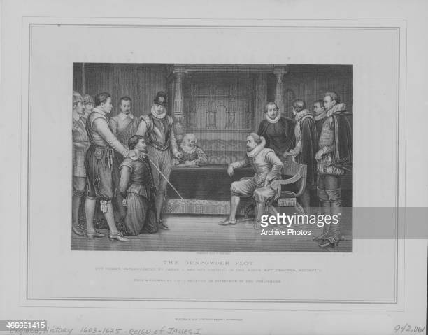Engraving by C F Merket depicting the interrogation of Guy Fawkes by King James I following the failed Gunpowder Plot in Whitehall London England...