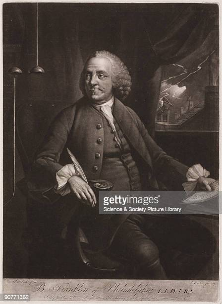 Engraving by E Fisher after a painting by M Chamberlin of Benjamin Franklin Franklin trained as a printer first in his family's firm in Boston and...