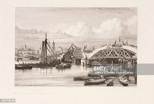 Engraving by E W Cooke showing London Bridge during its construction. Civil engineer John Rennie was commissioned to build a new crossing next to the...
