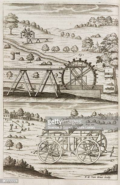 Engraving by F H van Houe showing a variety of agricultural devices including a windmill at the top left In the centre is a Persian Wheel used to...