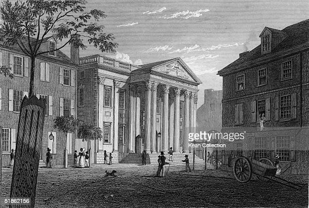 Engraving by Fenner Sears & Co. Shows pedestrians on the street outside the First Bank of the United States which was Alexander Hamilton's brainchild...