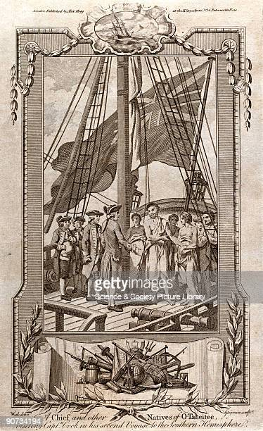 Engraving by Grignion after Wate entitled �A Chief and other Natives of OTaheitee visiting Captain Cook in his Second Voyage to the Southern...
