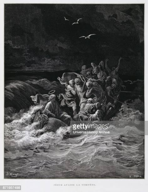 Engraving by Gustave Dor_ ; Jesus calming the storm is one of the miracles of Jesus in the Gospels.