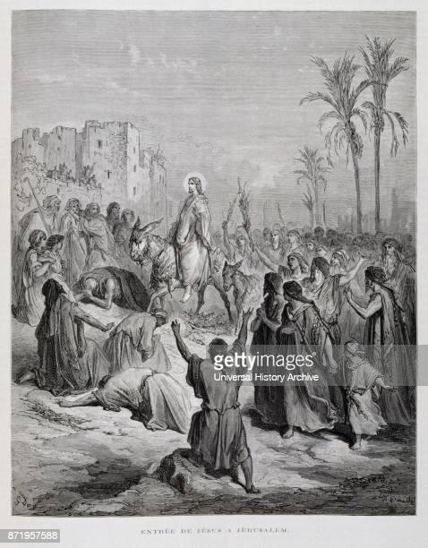 Engraving by Gustave Dor_ Jesus' triumphal entry into Jerusalem on a donkey Jesus descends from the Mount of Olives towards Jerusalem and the crowds...