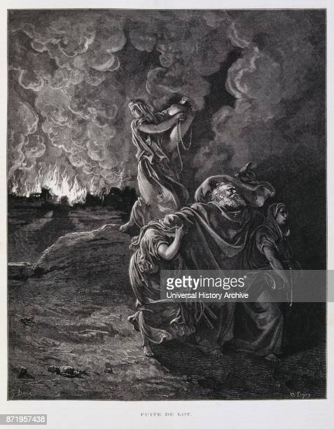 Engraving by Gustave Dor_ Lot was a patriarch in the biblical Book of Genesis Illustration shows his flight from the destruction of Sodom and...