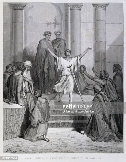 Engraving by Gustave Dor_ Saints Peter and John Healing the Lame Man At the temple in Jerusalem where the old and infirm begged alms Peter and John...