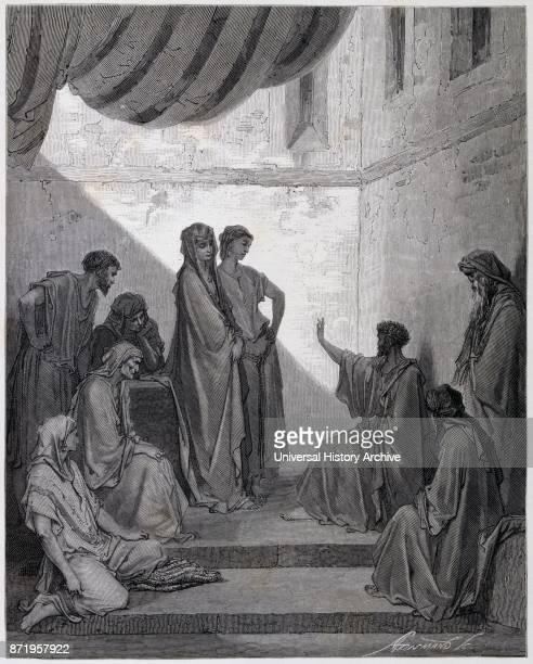 Engraving by Gustave Dor_ St Peter in the house of Cornelius a Roman centurion considered by Christians to be one of the first Gentiles to convert to...